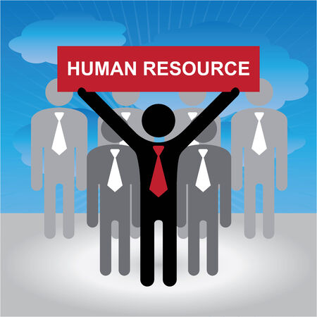 seeker: Job Seeker, Job Career Concept Present By Group of Businessman With Red Human Resource Sign on Hand in Blue Sky Background Stock Photo