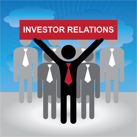 quality management: Quality Management Systems, Quality Assurance and Quality Control Concept Present By Group of Businessman With Red Investor Relations Sign on Hand in Blue Sky Background