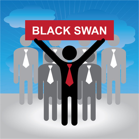 undirected: Business and Financial Concept Present By Group of Businessman With Red Black Swan Sign on Hand in Blue Sky Background Stock Photo