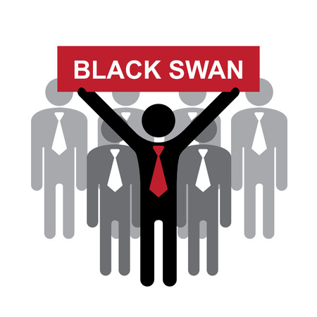 undirected: Business and Financial Concept Present By Group of Businessman With Red Black Swan Sign on Hand Isolated on White Background
