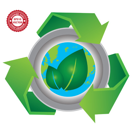 stop global warming: Vector : Recycle, Save The Earth or Stop Global Warming Concept Present By Green Recycle Sign With The Earth and Green Leaf Sign Inside Isolated on White Background