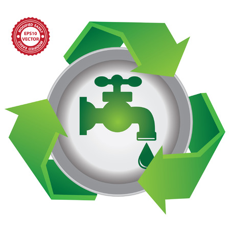 Vector : Recycle, Save The Earth or Stop Global Warming Concept Present By Green Recycle Sign With Tap Water and Water Drop Icon Inside Isolated on White Background Vector