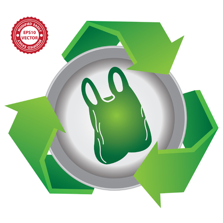 stop global warming: Vector : Recycle, Save The Earth or Stop Global Warming Concept Present By Green Recycle Sign With Plastic Bag Icon Inside Isolated on White Background