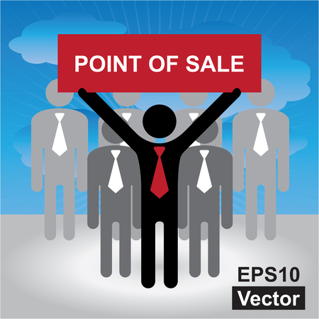 red point: Vector : Business, Marketing or Financial Concept Present By Group of Businessman With Red Point Of Sale Sign in Blue Sky Background Illustration