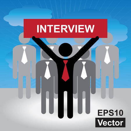 seeker: Vector : Job Seeker, Job Career Concept Present By Group of Businessman With Red Interview Sign on Hand in Blue Sky Background