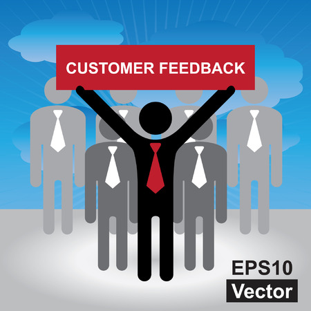 customer feedback: Vector : Quality Management Systems, Quality Assurance and Quality Control Concept Present By Group of Businessman With Red Customer Feedback Sign on Hand in Blue Sky Background