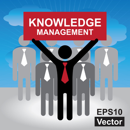 km: Vector : Knowledge Management or KM Concept Present By Group of Businessman With Red Knowledge Management Sign on Hand in Blue Sky Background