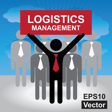 Logistic Business or Shipping Business Concept Present By Group of Businessman With Red Logistics Management Sign on Hand in Blue Sky Background