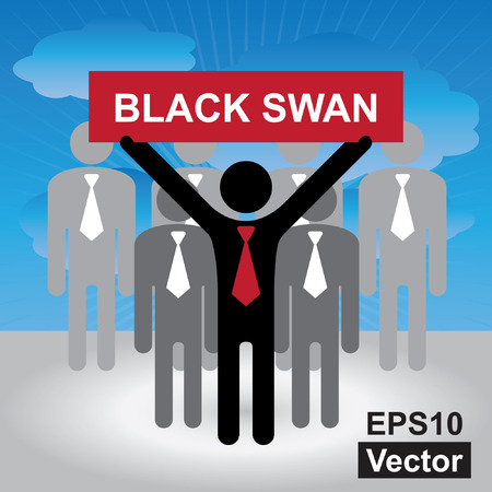 undirected: Vector : Business and Financial Concept Present By Group of Businessman With Red Black Swan Sign on Hand in Blue Sky Background