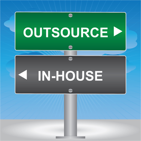 Business and Finance Concept Present By Green and Gray Street Sign Pointing to Outsource and In-House in Blue Sky Background photo