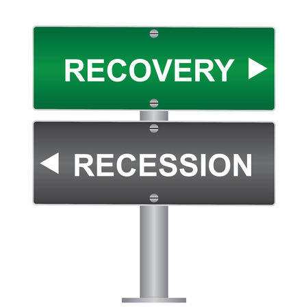 Business and Finance Concept Present By Green and Gray Street Sign Pointing to Recession and Recovery Isolated On White Background photo