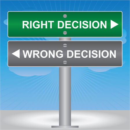 Business and Finance Concept Present By Green and Gray Street Sign Pointing to Right Decision and Wrong Decision in Blue Sky Background photo