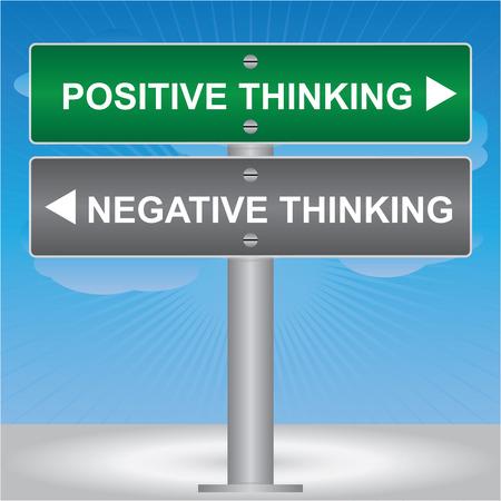 negative thinking: Affaires et des finances Concept Pr�sent Par Green et Gray Street Sign Attirant l'attention sur la pens�e positive et la pens�e n�gative en fond de ciel bleu