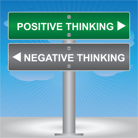negative thinking: Business and Finance Concept Present By Green and Gray Street Sign Pointing to Positive Thinking and Negative Thinking in Blue Sky Background Stock Photo