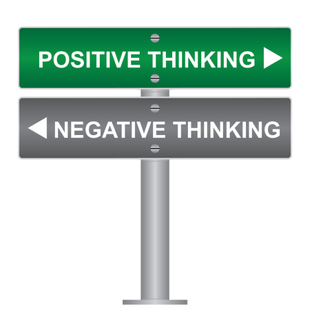 negative thinking: Business and Finance Concept Present By Green and Gray Street Sign Pointing to Positive Thinking and Negative Thinking Isolated On White Background