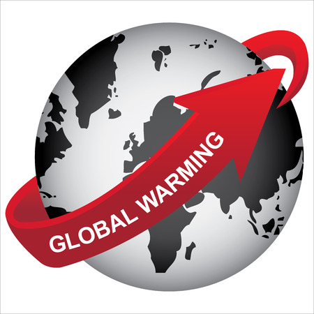 stop global warming: Recycle, Save The Earth, Stop Global Warming or Conservation Concept Present By Black Earth With Red Global Warming Arrow Around Isolated on White Background