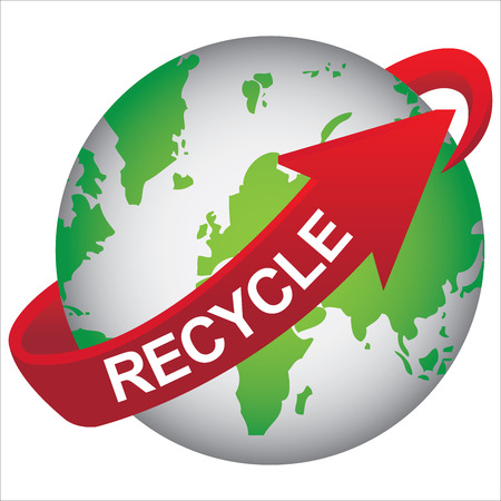 stop global warming: Recycle, Save The Earth, Stop Global Warming or Conservation Concept Present By Green Earth With Red Recycle Arrow Around Isolated on White Background Stock Photo