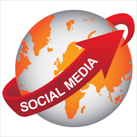 wiki: E-Commerce, Internet, Online Marketing, Online Business or Technology Concept Present By Orange Earth With Red Social Media Arrow Around Isolated on White Background