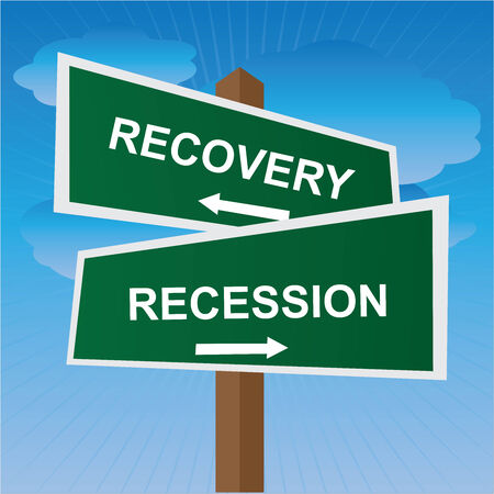 road to recovery: Business, Job Career or Financial Concept Present By Green Two Way Street or Road Sign Pointing to Recovery and Recession in Blue Sky Background