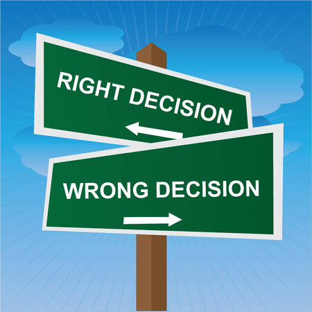 Business, Job Career or Financial Concept Present By Green Two Way Street or Road Sign Pointing to Right Decision and Wrong Decision in Blue Sky Background photo