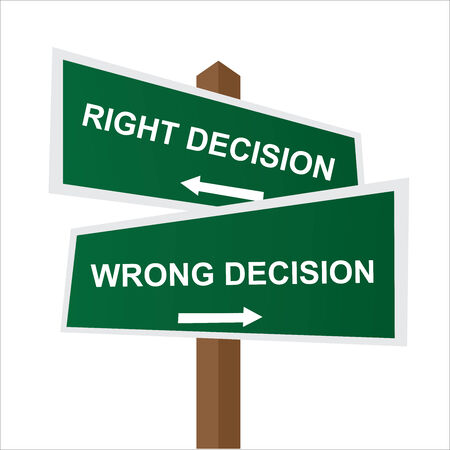 Business, Job Career or Financial Concept Present By Green Two Way Street or Road Sign Pointing to Right Decision and Wrong Decision Isolated on White Background photo