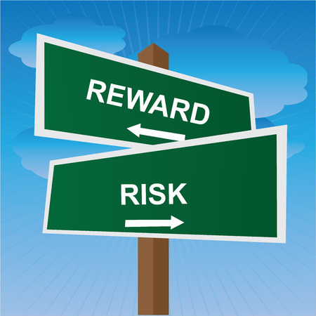 consequence: Business, Job Career or Financial Concept Present By Green Two Way Street or Road Sign Pointing to Reward and Risk in Blue Sky Background