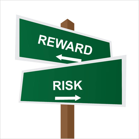 Business, Job Career or Financial Concept Present By Green Two Way Street or Road Sign Pointing to Reward and Risk Isolated on White Background photo