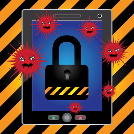 Mobile Phone Antivirus Concept Present By White Tablet PC With Red Virus and The Key Lock on Screen in Caution Zone Dark and Yellow Background photo
