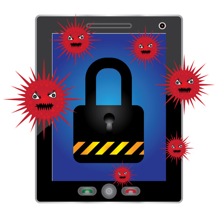 Mobile Phone Antivirus Concept Present By White Tablet PC With Red Virus and The Key Lock on Screen Isolated on White Background Stock Photo