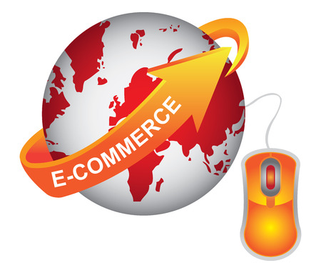 E-Commerce, Internet, Online Marketing, Online Business or Technology Concept Present By Red Earth With Orange E-Commerce Arrow and Orange Mouse Isolated on White Background Stock Photo