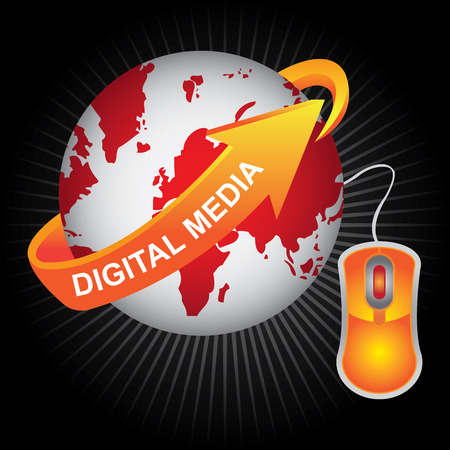 wiki: E-Commerce, Internet, Online Marketing, Online Business or Technology Concept Present By Red Earth With Orange Digital Media Arrow and Orange Mouse in Dark Shiny Background