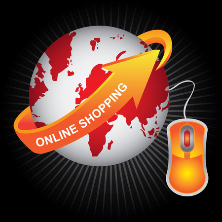 E-Commerce, Internet, Online Marketing, Online Business or Technology Concept Present By Red Earth With Orange Online Shopping Arrow and Orange Mouse in Dark Background Stock Photo