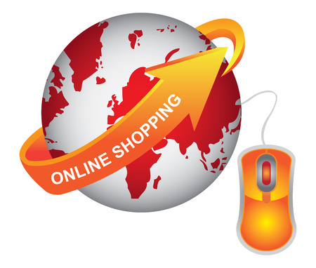 E-Commerce, Internet, Online Marketing, Online Business or Technology Concept Present By Red Earth With Orange Online Shopping Arrow and Orange Mouse Isolated on White Background
