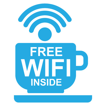 Internet Hotspot, Internet Cafe or Technology Concept Present By Blue Coffee Cup With Free Wifi Inside Sign Isolated on White Background