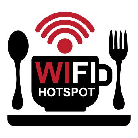 cafe internet: Internet Internet, Internet Cafe o Concepto de la tecnolog�a actual por una taza de caf� con Hotspot internet muestra el interior y comida y bebida signo aislado sobre fondo blanco Foto de archivo