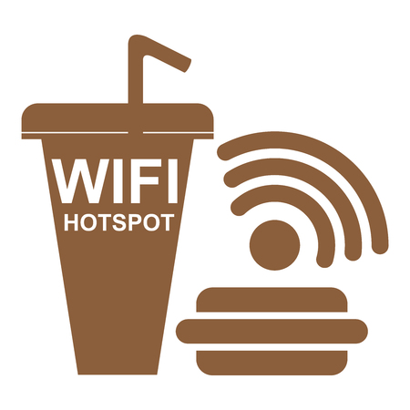 Internet Hotspot, Internet Cafe or Technology Concept Present By Brown Fastfood Sign With internet Hotspot Sign Inside Isolated on White Background Stock Photo