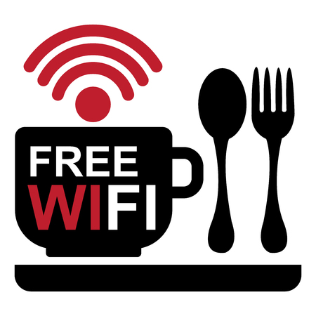 hotspot: Internet Hotspot, Internet Cafe or Technology Concept Present By A Coffee Cup With Free Wifi Sign Inside and Food and Drink Sign Isolated on White Background