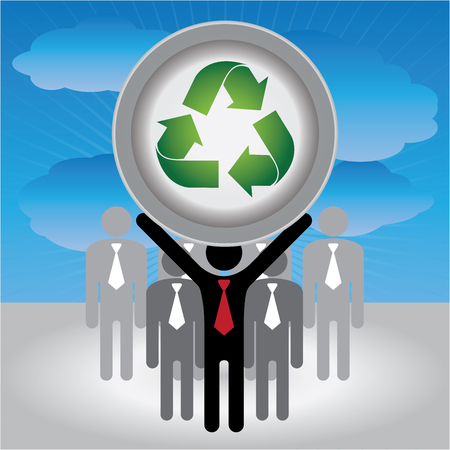 stop global warming: Recycle, Save The Earth or Stop Global Warming Concept Present By Group of Businessman With Green Recycle Sign on Hand in Blue Sky Background