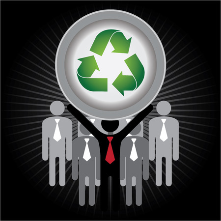stop global warming: Recycle, Save The Earth or Stop Global Warming Concept Present By Group of Businessman With Green Recycle Sign on Hand in Dark Shiny Background