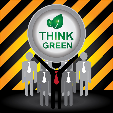 stop global warming: Recycle, Save The Earth or Stop Global Warming Concept Present By Group of Businessman With Think Green Sign on Hand in Caution Zone Dark and Yellow Background Stock Photo