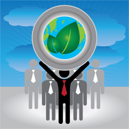 stop global warming: Recycle, Save The Earth or Stop Global Warming Concept Present By Group of Businessman With Earth and Green Leaf Sign on Hand in Blue Sky Background