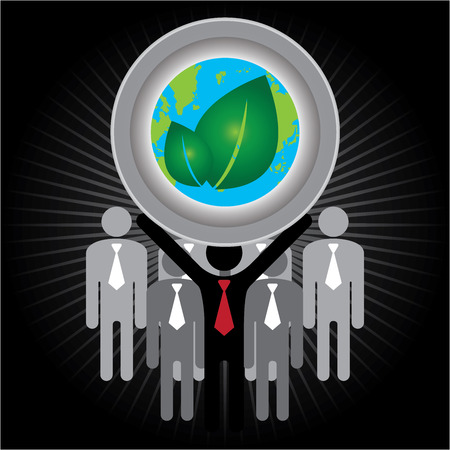 stop global warming: Recycle, Save The Earth or Stop Global Warming Concept Present By Group of Businessman With Earth and Green Leaf Sign on Hand in Dark Shiny Background Stock Photo