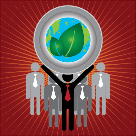 stop global warming: Recycle, Save The Earth or Stop Global Warming Concept Present By Group of Businessman With Earth and Green Leaf Sign on Hand in Red Shiny Background Stock Photo