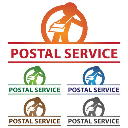 Graphic For Logistic or Postal Service Business Present By Colorful Glossy Style Postal Service Label With Postman Sign Isolated on White Background photo