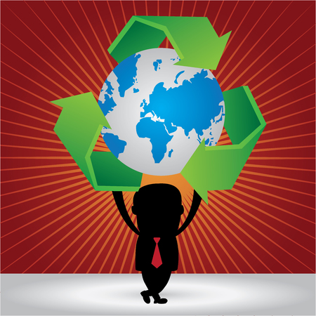 stop global warming: Graphic For Save The Earth or Stop Global Warming Concept Present By The Businessman Hold Blue World and Green Recycle Sign Around in Red Shiny Background Stock Photo