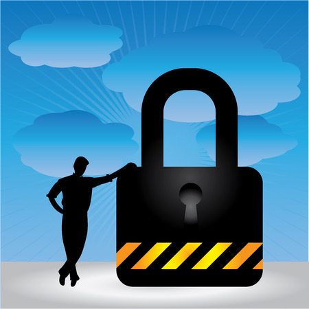 enforcing: Business Security, Network Security or Computer Security Concept Present By A Businessman Leaning Against The Key Lock in Blue Sky Background