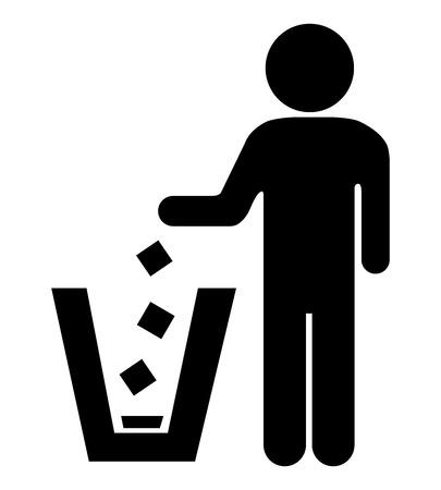 botar basura: No tirar basura, por favor, utilice un bote de basura o por favor evita Area Clean Concept Presente Por Ninguna muestra Tirar basura aislada sobre fondo blanco Foto de archivo
