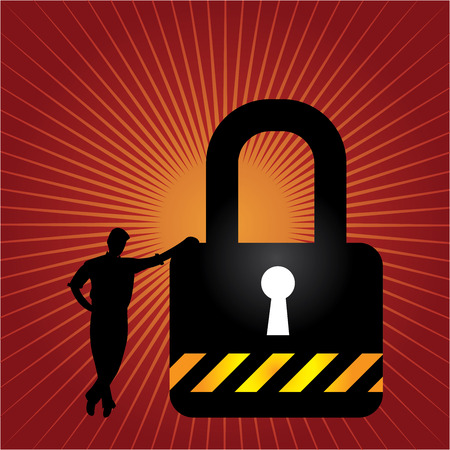 enforcing: Business Security, Network Security or Computer Security Concept Present By A Businessman Leaning Against The Key Lock in Red Shiny Background