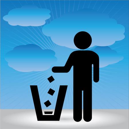 botar basura: No tirar basura, por favor, utilice un bote de basura o por favor evita Area Clean Concept Presente Por no tirar basura Entrar cielo azul de fondo