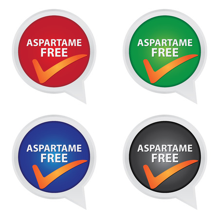 aspartame: Icon for Marketing Campaign, Product Information or Product Ingredient Concept Present By Colorful Aspartame Free Icon With Check Mark Sign Isolated on White Background